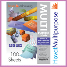 Load image into Gallery viewer, Hovat Multi-Purpose. 100 sheet box of white self adhesive labels