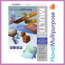 Load image into Gallery viewer, Hovat Multi-Purpose. Self adhesive label. Multiple Options. 25 sheet pack