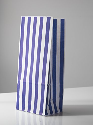 Candy Stripe Blue and White Block Bottom Sweet Bags. (110 x 75 x 240mm)