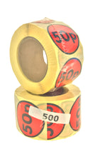 Load image into Gallery viewer, Special Offer 50p Labels, 500 per roll, 40mm Diameter, Presented in rolls of 500