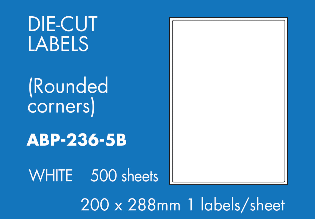 Hovat Multi-Purpose. 500 sheet box of white self adhesive labels. DIE CUT - rounded corners