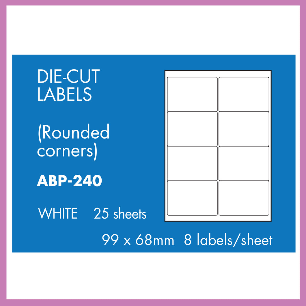 Hovat Multi-Purpose. Self adhesive label. Multiple Options. 25 sheet pack