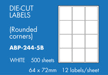 Load image into Gallery viewer, Hovat Multi-Purpose. 500 sheet box of white self adhesive labels. DIE CUT - rounded corners