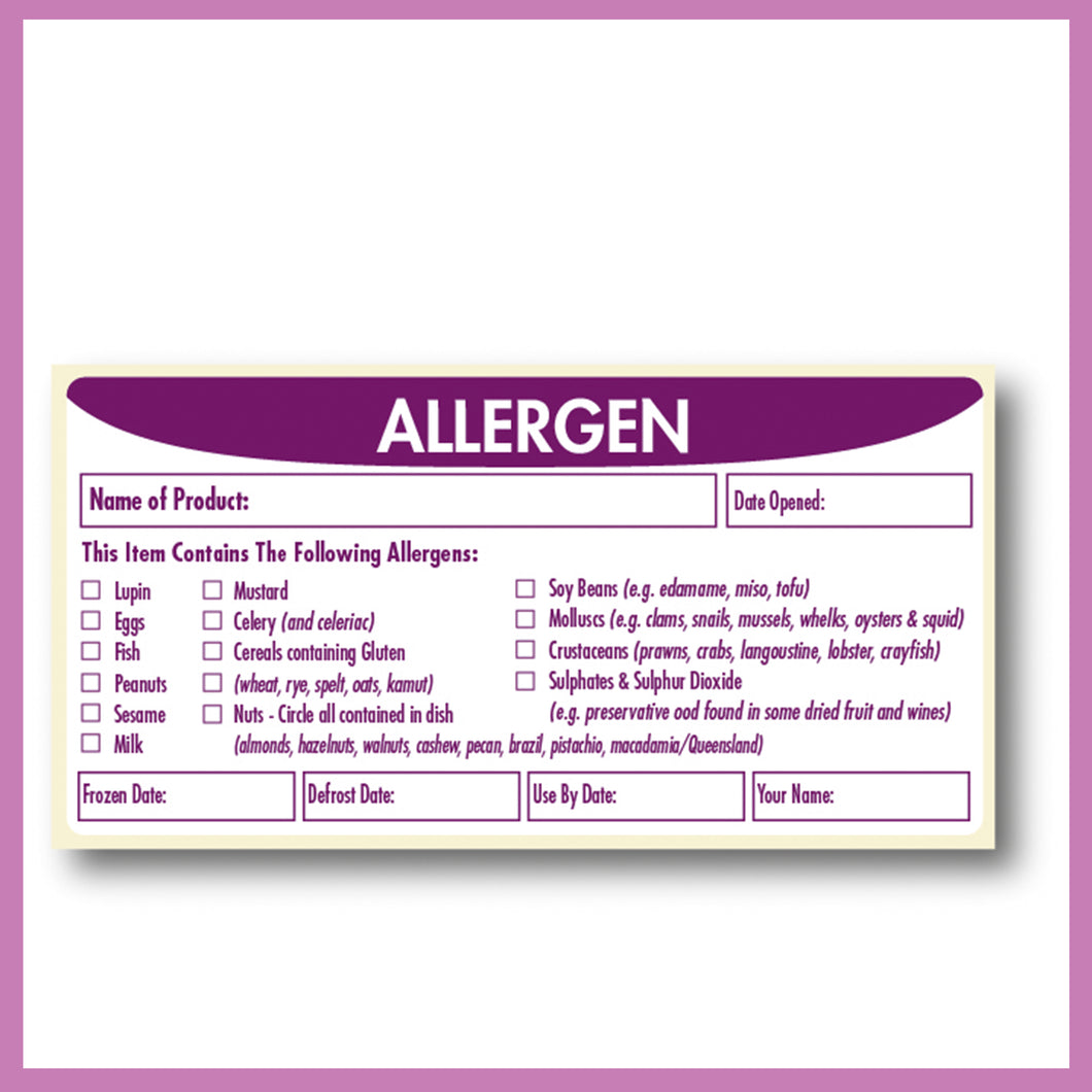 Food Allergen, Safety Label, Removable Adhesive, 51 x 102 mm, 1 roll of 500