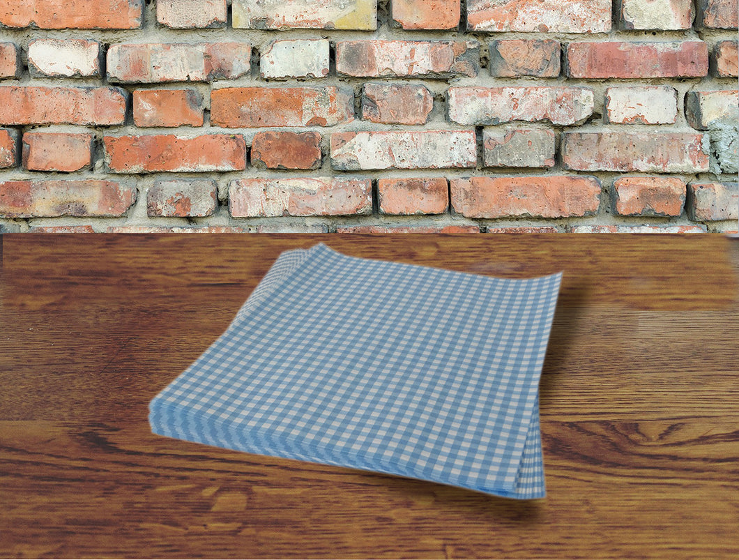 Blue Gingham Greaseproof Sheets, Chip & Tray Liners. packs of 1,000