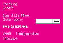 Load image into Gallery viewer, Hovat Franking Labels. 215 x 39 mm with 66 mm gutter Self Adhesive Franking Label. 1,000 per pack