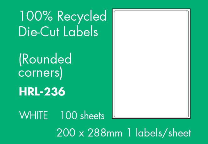 Hovat 100% Recycled Multi-Purpose. Self Adhesive Labels. (100 Sheets per box)