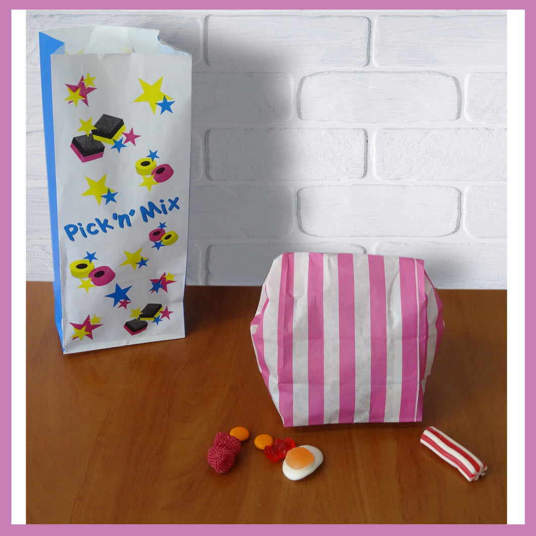 Pick n Mix Candy Sweet Paper Bags. (110mm Wide + 75mm Gusset x 270mm high)
