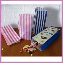 Load image into Gallery viewer, Candy Stripe Blue and White Block Bottom Sweet Bags. (110 x 75 x 240mm)