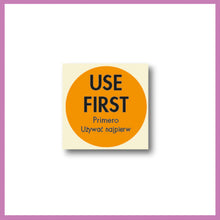 Load image into Gallery viewer, Orange Use First, Food Rotation Label, Removable Adhesive, 51mm Dia, 1 roll of 500