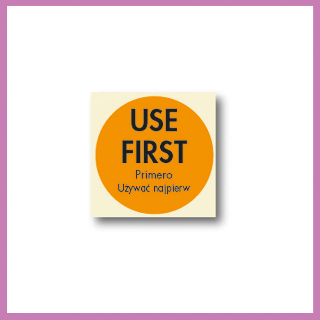 Orange Use First, Food Rotation Label, Removable Adhesive, 51mm Dia, 1 roll of 500