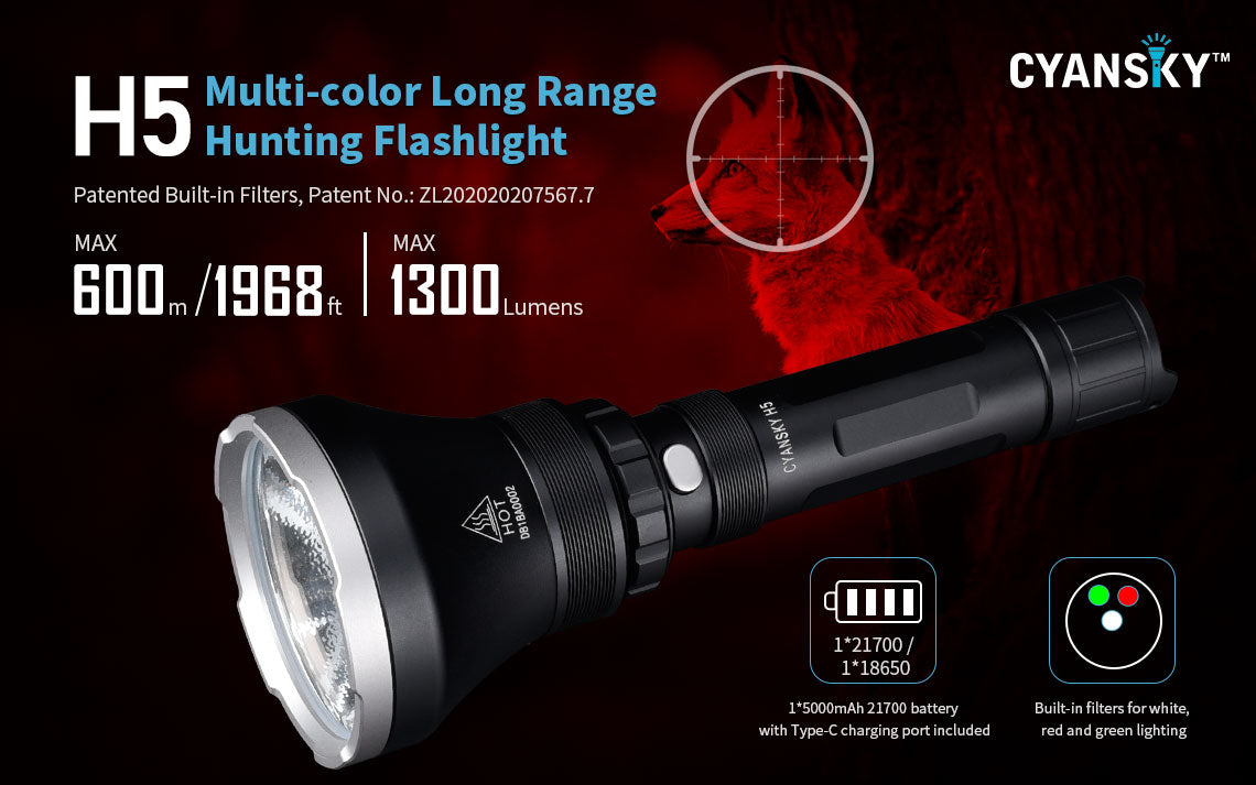 Cyansky H5 flashlight for hunting searching self-defense tactical use