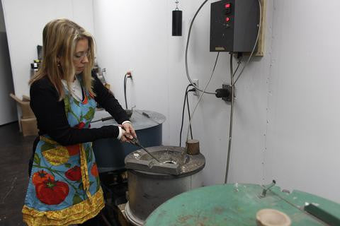Christy Coltrin Pouring Metal in the Studio