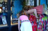 Pearl, Fina and Liz Bruni window shop for Tiny Sparks.