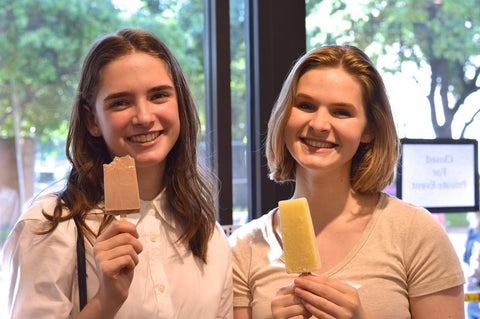 Claire Eckardt and Ellie Dontes enjoy popsicles from Steel City Pops.