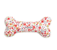 Load image into Gallery viewer, Squeaky Bone Toy by Mutts & Hounds: Posie Cotton