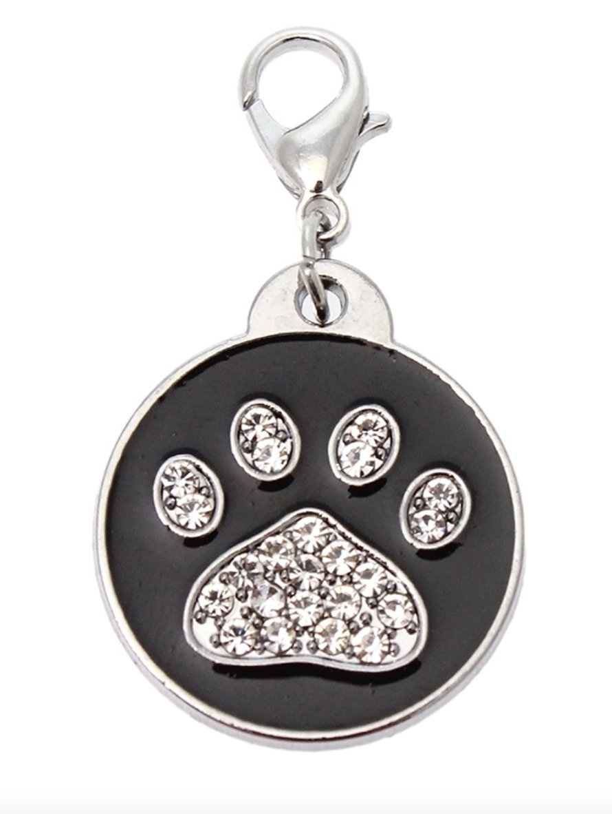 Black Enamel & Diamanté Paw Charm