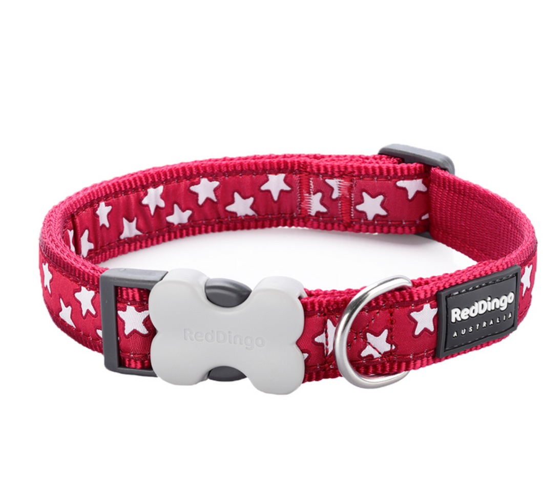 Red & White Stars Collar by Red Dingo