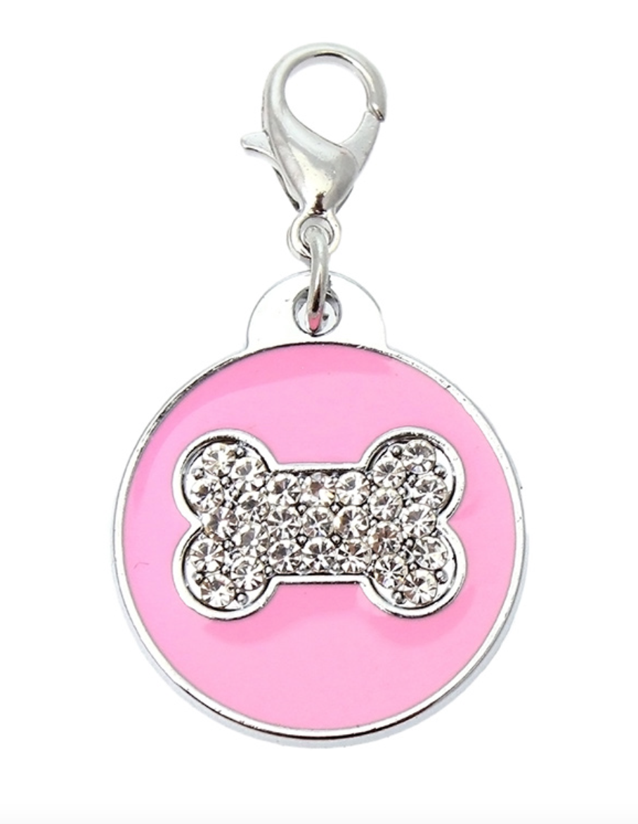 Pink Enamel & Diamanté' Bone Collar Charm