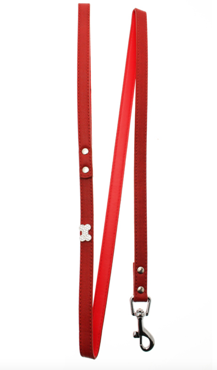 Retired: Red Leather Bone Diamante Lead