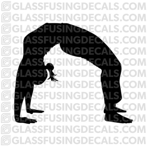 Yoga 3- Wheel/Bridge Pose- Glass Fusing Decal for Glass or Ceramics