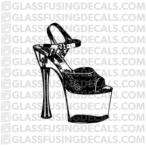 Dance - Pole Dance Shoe - Glass Fusing Decal for Glass or Ceramics