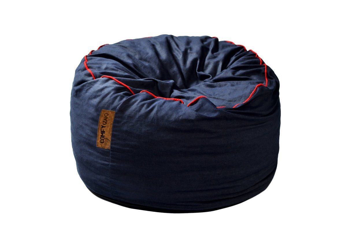 Comfyzak Beanbags - Denim-red-piping