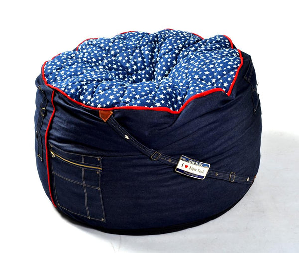 Comfysak Beanbag - RAD Denim quilt side