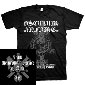 "OSCULUM INFAME ""I AM THE PROUD DISGRACE OF GOD"" BLACK T-SHIRT & GIRLY"