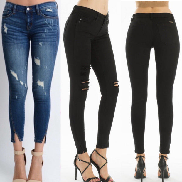 CLEARANCE!!! Kancan KC8086BK Black Skinny Jeans with Ankle Slits - dalia + jade