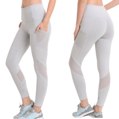 MONO B Light Gray High Rise Yoga Leggings with Pockets - dalia + jade