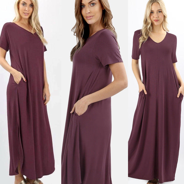 Purple Egglplant Maxi Dress with Side Slits and Pockets