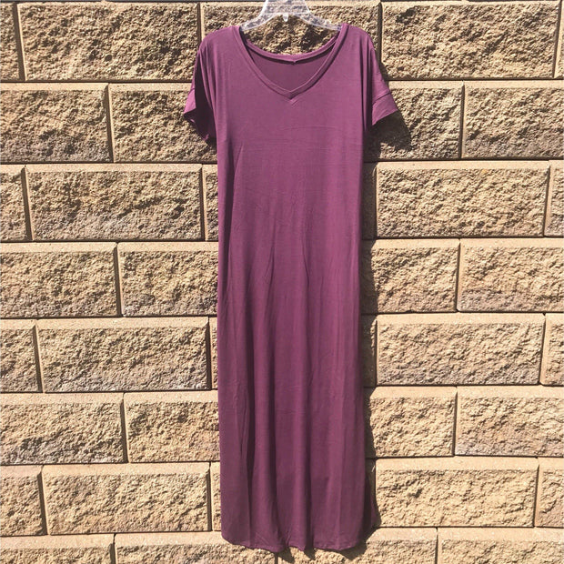Red Wine Maxi Dress with Side Pockets