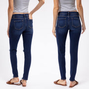 Kancan KC5055D Dark Wash Mid Rise Distressed Skinny Jeans