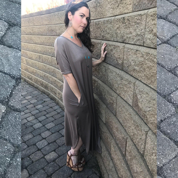 Taupe Beige Plunging Back Maxi Dress with Side Pockets and Slits