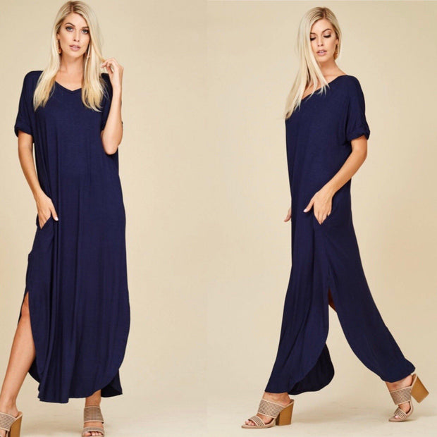 Estate Blue Oversized Fit T-Shirt Maxi Dress with Pockets