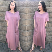Pink Plunging Open Back Maxi Dress with Pockets
