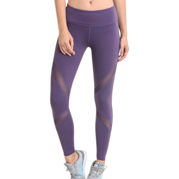 Mono B Brown Mesh Yoga Leggings - AP1324