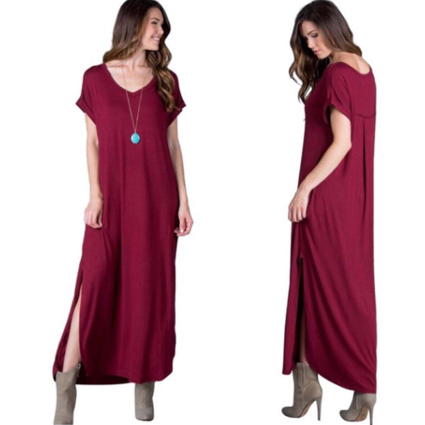 Red Wine Maxi Dress with Pockets - dalia + jade