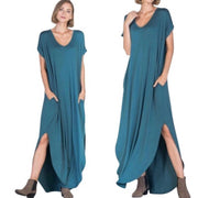 Teal Open Back Maxi Dress with Pockets - dalia + jade