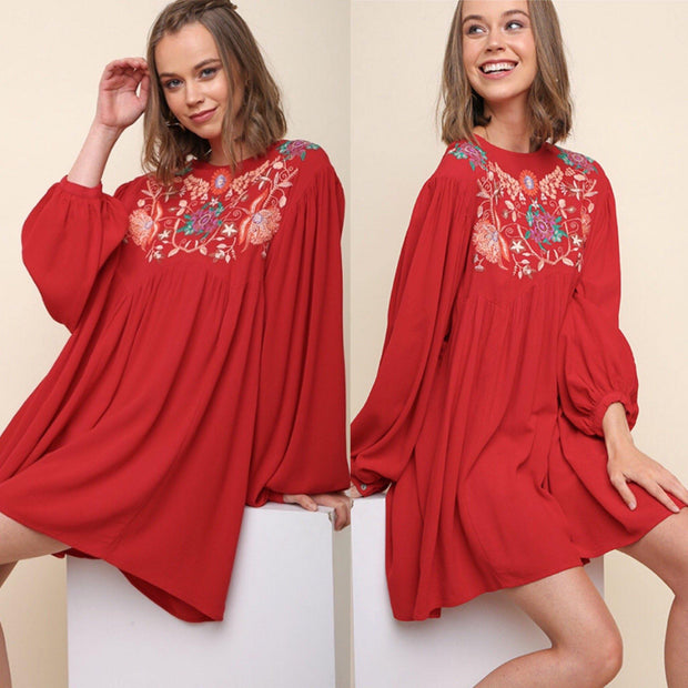 Umgee Floral Embroidered Red Long Sleeve A-Line Dress - dalia + jade