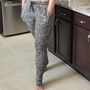 MONO B Cheetah Print Drawstring Joggers with Pockets KP11222