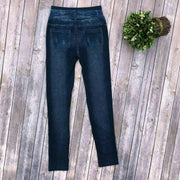 New Mix NMS152 ULTRA High Rise Blue Jean Print Leggings - dalia + jade