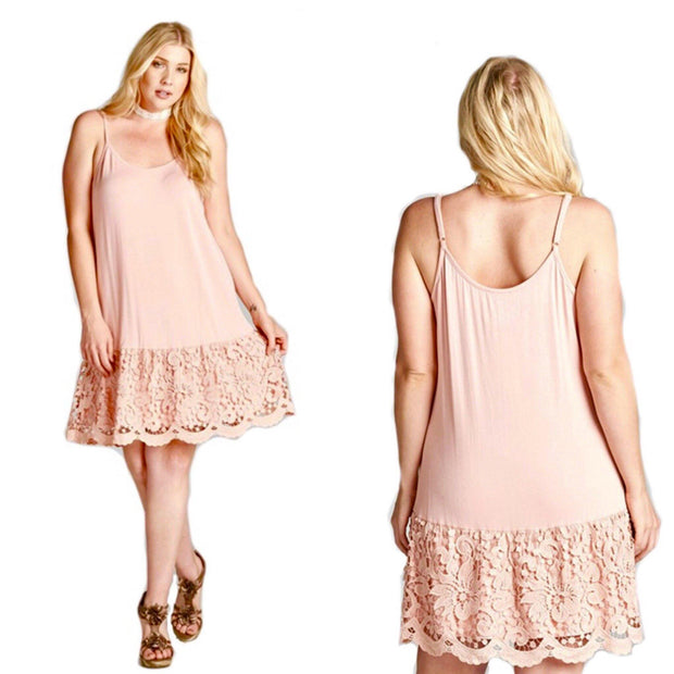 ODDI Peachy Pink Lace Dress Extender Slip