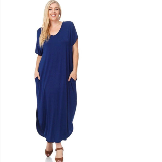 Navy Blue Oversized T-Shirt Maxi Dress with Side Pockets