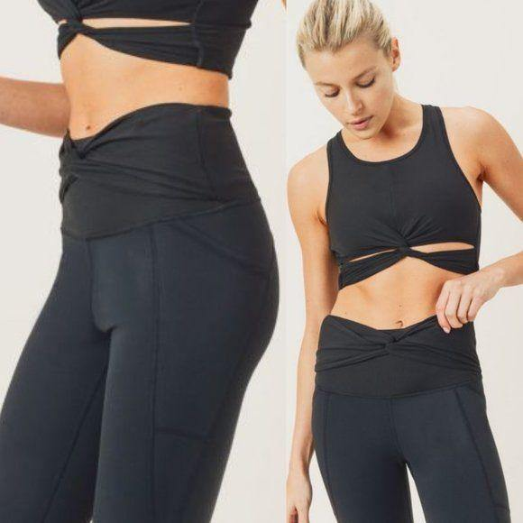 MONO B BLACK Twisted Waist Yoga Leggings - APH2869 - dalia + jade