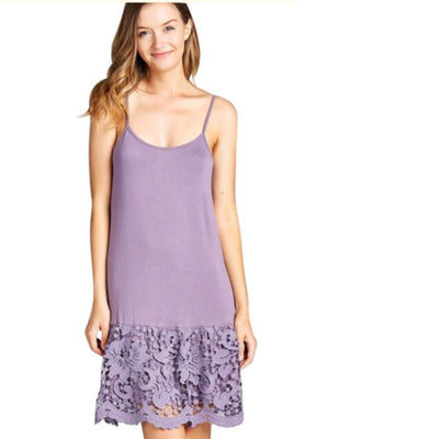 ODDI Purple Scalloped Lace Dress Extender