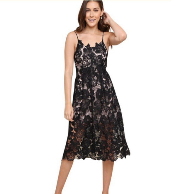 Umgee Little Black Dress - Lined Lace Midi - dalia + jade