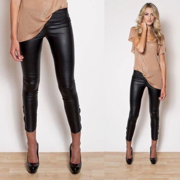 L/XL Black Faux Leather Leggings Vegan Pleather Pants - dalia + jade