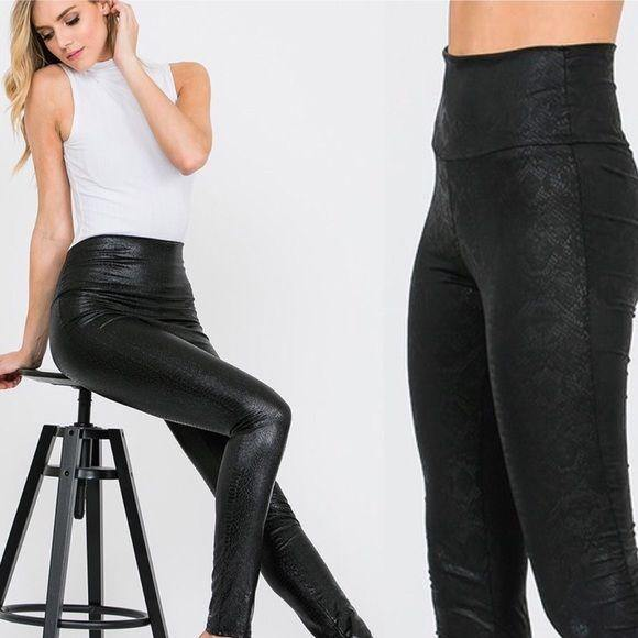 Black Snake Skin Faux Leather Leggings - dalia + jade